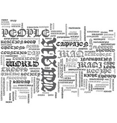 A fresh look on the war in iraq text word cloud vector