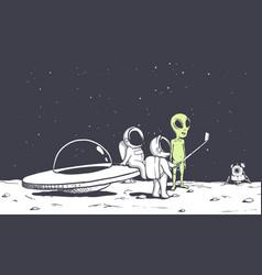 alien and astonauts photographs himself vector image