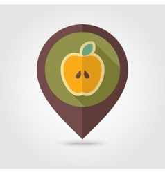 Apple flat mapping pin icon with long shadow vector image