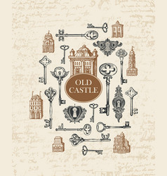 banner with vintage keys keyholes and old house vector image