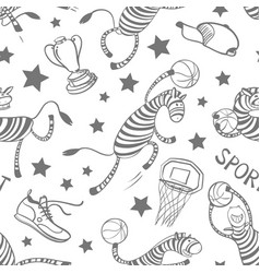 basketball game seamless pattern with doodle cute vector image