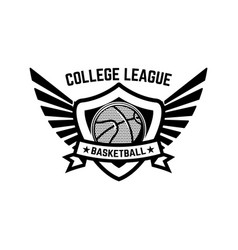 basketball sport emblem with wings design element vector image