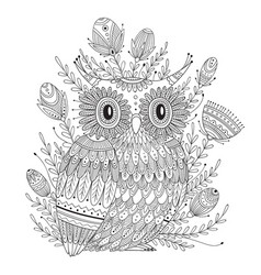 Beautiful detailed coloring page with bird vector