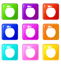 Black apple set 9 vector
