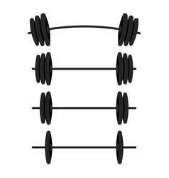 Black barbells with different weight set for gym vector