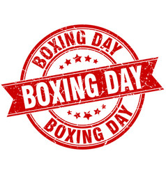 boxing day round grunge ribbon stamp vector image