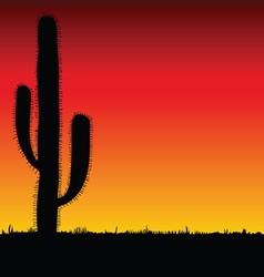 cactus big black silhouette vector image