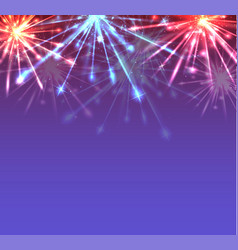 card with new year multicolored fireworks with vector image