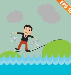 Cartoon Businessman walking on the rope vector