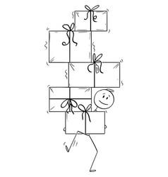 cartoon man carrying or balancing gifts vector image