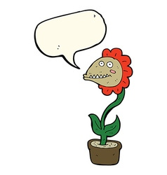 cartoon monster plant with speech bubble vector image