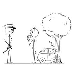 Cartoon policeman controlling alcohol level vector