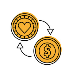 Coins money with casino chip vector