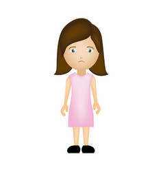 colorful caricature sad woman with costume vector image