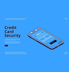credit card security web banner with smartphone vector image