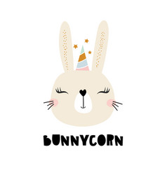 cute bunny unicorn childish print for t-shirt vector image