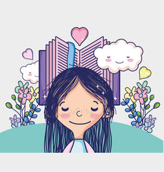 cute girl with book vector image