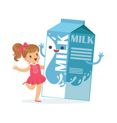 cute little girl and funny milk carton box vector image
