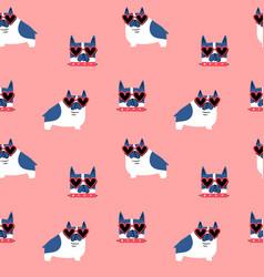 cute pug dog heart sunglasses seamless pattern vector image