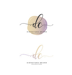 D c dc initial letter handwriting and signature vector