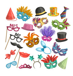 different elements for carnival funny masks vector image
