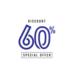 Discount 60 special offer template design vector