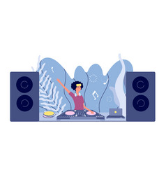 dj set disco party woman plays nightclub stereo vector image