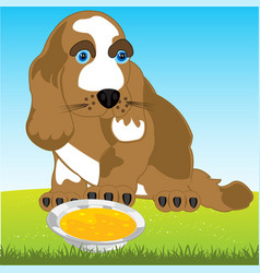Dog and tureen with meal vector