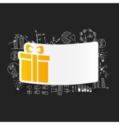 drawing business formulas gift box vector image