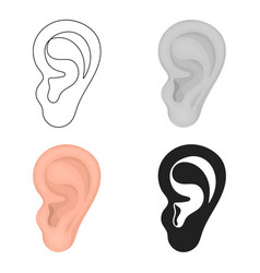 ear icon in cartoon style isolated on white vector image