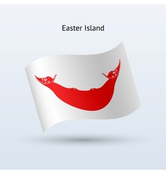 Easter Island flag waving form vector