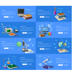 Educational subjects informative internet pages vector
