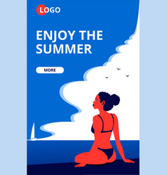 Enjoy summer landing page template vector