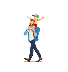 father riding son on shoulders cartoon vector image
