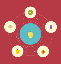Flat icons nectarine mango aubergine and other vector