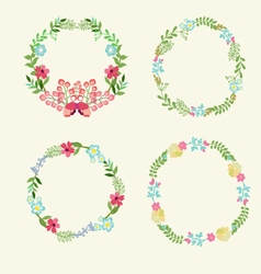 Floral Frame Collection retro flowers wreath vector