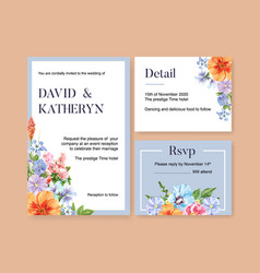Flower garden wedding card design with columbine vector