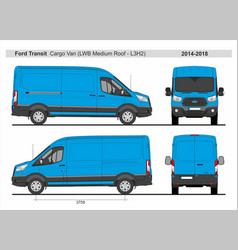 Ford transit cargo delivery van l3h2 2014-2018 vector