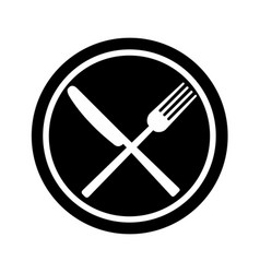 fork and knife on plate background vector image