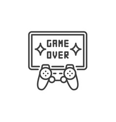 game over concept icon gamepad with tv vector image