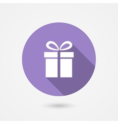 Gift icon with long shadow vector image
