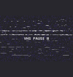 Glitch vhs on black background old tape effect vector