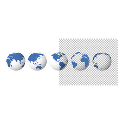globe set earth transparent isolated background vector image