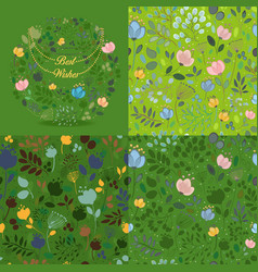 green floral round and seamless patterns set vector image