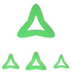 Green line triangle logo design set vector