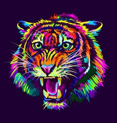 growling tiger abstract multicolored portrait vector image