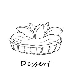 hand drawn outline of peach tartlet vector image