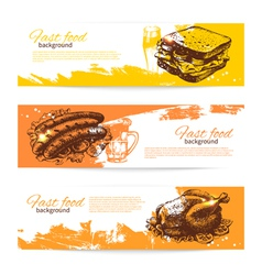 Hand drawn vintage fast food banners vector image