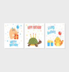 happy birthday card templates set invitation vector image