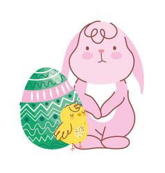 happy easter cute rabbit chicken green egg vector image